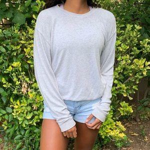 Brandy Melville Gray Long Sleeve Sweater Top